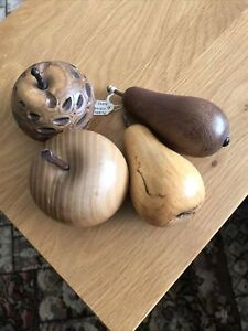 Collection of 4 Hand Turned Wooden Fruit