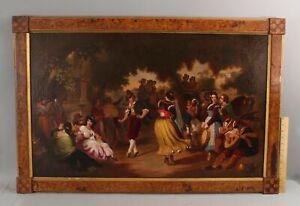 Large 19thC Antique EDMUND COATES American Oil Painting of Italian Folk Dancers