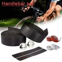 Handlebar Tape Bicycle Road Bike Sport Gym Cork Grip Wrap Ribbon Tape & Bar Plug