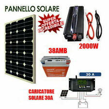 Kit Fotovoltaico 1 KW Pwm Inverter 2000W Pannello Solare 50W BATTERIA 38AMP