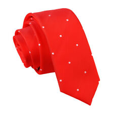 Red Mens Skinny Tie Woven Pin Dot Dotted Formal Casual Necktie by DQT