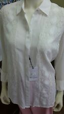Robert Graham Women's Leila Silk Mixed-Lace Blouse size Medium(Clearance Price$)