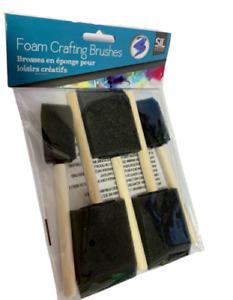 5Pcs Foam Sponge Brush Wood Handle Artists Painting Brushes for Acrylics School