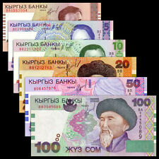 Kyrgyzstan 6 PCS (1997-2002),1 5 10 20 50 100 Som,UNC