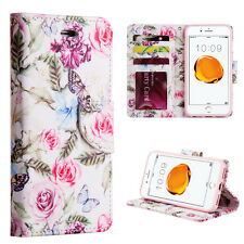 iPhone 7 / 8 - BUTTERFLY PINK ROSE Card ID Wallet Diary Pouch Holder Case Cover