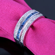Sterling Silver 0.7CT Round Diamonds Princess Sapphires Ring Band Fine Jewelry