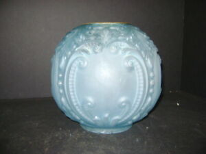 ANTIQUE ICE BLUE GWTW OR BANQUET OIL LAMP BALL SHADE