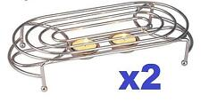 2 X OVAL DOUBLE FOOD WARMER CHROME 4TEA LIGHT CANDLES CHAFING DISH RACK STAND UK