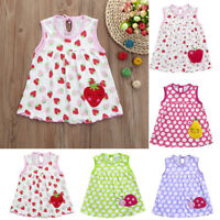Toddler Kid Cute Baby Cotton Flower Children Dot Striped Tees Dress T-Shirt Vest