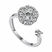 Women Fashion Rhinestone Inlaid Rotating Open Finger Ring Party Jewelry YI