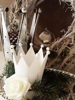 Deko Krone Windlicht Teelichthalter weiß Metall Weihnachten Shabby Vintage 12x10
