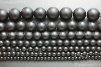 "Natural Onyx Gemstone Round Beads Matte Black 4mm 5mm 6mm 8mm 10mm 12mm 15.5"""