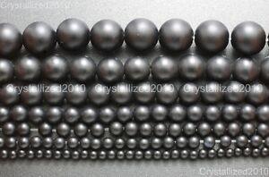 "Matte Natural Black Onyx Gemstone Round Beads 4mm 5mm 6mm 8mm 10mm 12mm 15.5"""