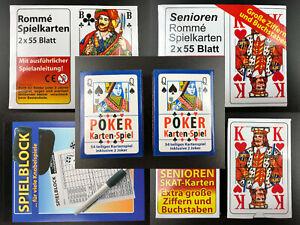 Kartenspiele Pokerkarten Skat Seniorenspiel mit großen Ziffern Block für Kniffel