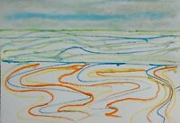 ST IVES PORTHMEOR BEACH 6 WATERCOLOUR PENCIL NIGEL WATERS DRAWING *