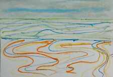 ST IVES PORTHMEOR BEACH 6 WATERCOLOUR PENCIL ON PAPER NIGEL WATERS DRAWING