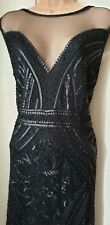 ■Bnwt Vintage Style Size 14 Black Sequined/Beaded Fringed Gatsby/Flapper Dress