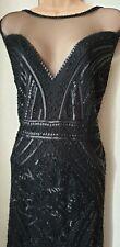 Bnwt £55 Size14 Vintage Style1920s Black SequinBead Fringe Gatsby Flapper Dress
