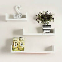 Floating Wooden Wall Storage Display Rectangular Shelves 3 Sizes White Set of 3
