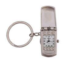 Klox Mobile Shape Pocket Key Ring Silver Watch Analog Quartz Japanese Movement