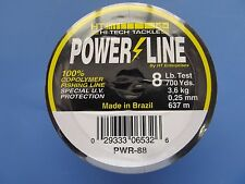 Hi Tech Tackle Power Line 100% Copolymer fishing Line 8 LB. Test  700 Yards  NEW