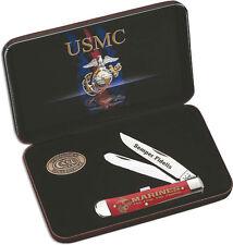 Case Xx Knife SS Blade USMC Marines Trapper Red Bone Handle Gift Set CA13174