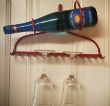 RECYCLED BOW RAKE WINE BOTTLE AND GLASS STORAGE HOLDER DISPLAY RACK WALL MOUNT