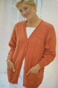 "Ladies V Neck Cardigan 30-52"" DK Vintage Knitting Pattern  L18"