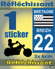 1 Sticker REFLECHISSANT département 22 rétro-réfléchissant immatriculation MOTO