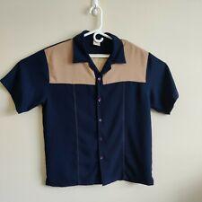 IZ-IT-U Mens Short Sleeve Button Front Bowling style shirt Sz L Navy/ Tan