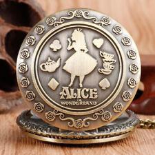 New Alice in Wonderland Pocket Watch Girls Vintage Necklace Watch Gift L99