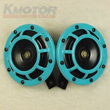 LIGHT BLUE LOUD BLAST TONE GRILL MOUNT 12V ELECTRIC COMPACT CAR HORN 335HZ/400HZ