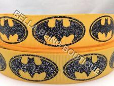 """2 M Brillo Amarillo Batman Cinta del Grosgrain 22MM 7/8"""" Cumpleaños Tarjeta De Pastel de arco de pelo"""