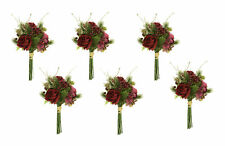 JOB LOT CLEARANCE 6 x Red Rose Flower & Pine Floral Bunch Wedding Decorations