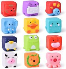 Kids Bath Toys Soft Cube Water Squirter Squeeze Animals Building Stacking Blocks