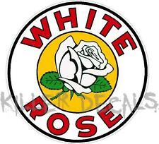 "(WHTR-2) 10"" WHITE ROSE GAS PUMP GASOLINE OIL DECAL LUBSTER MAN CAVE"