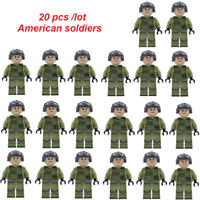 20pcs WW2 American Soldier Military Mini figures Army Building blocks Fit Le*go