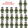 20 pcs WW2 American Soldier Military Mini figures Army Building blocks Fit Le*go