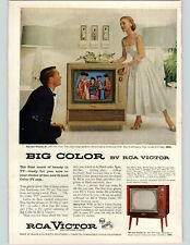 1955 Paper Ad COLOR RCA Victor Director 21 & Seville 21  Color Television