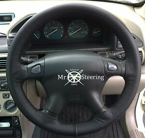 FOR LAND ROVER FREELANDER I (96-04) REAL BLACK LEATHER STEERING WHEEL COVER