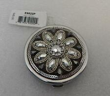 Genuine Brighton Anju Silver Metallic Faceted Beadwork Compact Mirror E6522P NWT