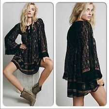 157912 New Free People Nomad Lace Printed Embroidered Cotton Tunic Dress XS