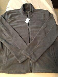 Saks Fifth Avenue Polar Fleece Jacket 2XL XXL Microfleece Gray $93.00