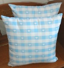 Two Decorative Pillows Zazzle Inc. Blue White Checked w/Hearts Displayed Only