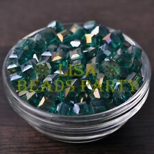 New 10pcs 8mm Cube Square Crystal Glass Loose Spacer Beads Peacock Green AB