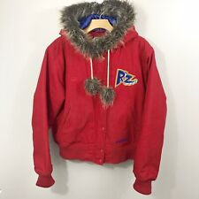 Stall And Dean Hooded Jacket Sz 2XL Faux Fur Trim Radz Rollerblading Red Blue