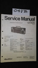 Quasar GX3626 service manual stereo cassette player boombox original repair