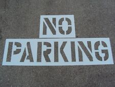 "24"" No Parking Parking Lot Stencil 12"" Wide Letters 3"" Spacing 1/16"" Thick Ldpe"