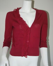 Juicy Couture Red Maroon Cotton Pocket Ruffle Cardigan Sweater P XS 0 2