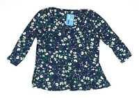 M&Co Blue Floral Womens Top Size 16 (Regular)